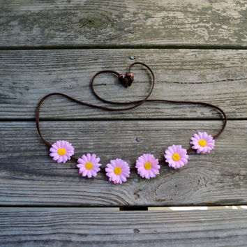 Pink Daisy Flower Headband Floral Halo Flower Crown Bohemian Headpiece Hippie Headwrap Festival Wear Pink Daisy Coachella Bonnaroo Ezoo