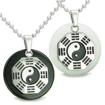 Positive Energy Love Couple or Best Friends BA GUA Ying Yang White Jade Black On