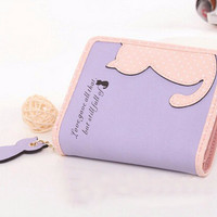 Cat Graphic Patchwork Short and Long Wallet