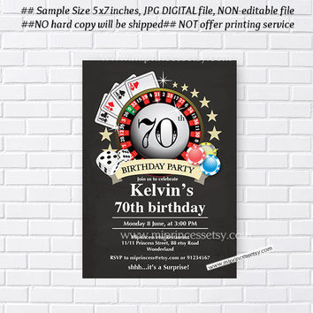 Poker Playing Card birthday invitation, Casino theme chalkboard design invitation for any age 30th 40th 50th 60th 70th 80th card 430