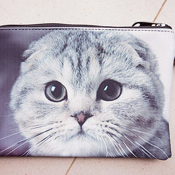 Scottish Fold, cat pouch,  cat purse, cat clutch, cat lover pouch, cat portrait pouch, cat makeup bag, PC-263