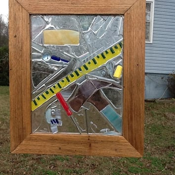 Carpenter Stained Glass Mosaic Window Art / Sun Catcher OOAK Handmade Fathers Day,Hammer, Screw Driver , Unique Gift Idea