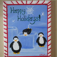 Christmas Decor, Playful penguins, Holiday Art, painting on canvas