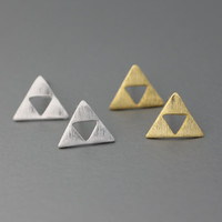 Tri Force Earrings Triangle Zelda Tiny Triangle silver studs earrings  - Available color as listed ( Silver, Gold )