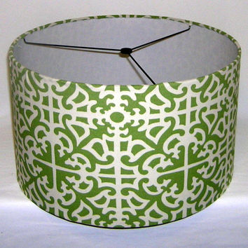 """Large drum lamp shade 17"""" X 10"""" / barrel lampshade / pendant lamp shade in Waverly Indoor / outdoor fabric Parterre Grass Geen and off white"""