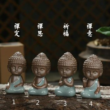 Buddha statue figurine decoration monk tea pet car accessories bonsai garden house decoration tathagata India Yoga Mandala