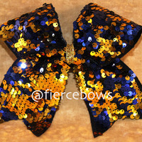 Blue and Gold Reversible Sequin Cheer Bow