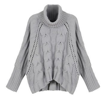 Grey High Neck Chunky Cable Long Sleeve Sweater