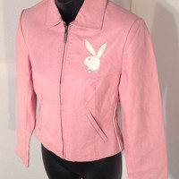 "Vintage 90's Pink Leather ""Playboy Bunny"" Women's Jacket, Size Extra Small"