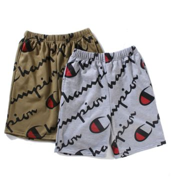 Champion Summer Shorts More Letter  Print Loose Casual Shorts Gray