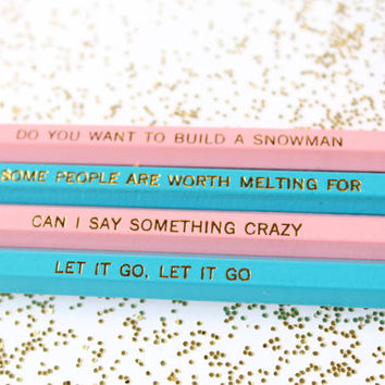Quotes from Frozen, Set of 4 Pencils, Gold Foil Pencils, Pencils, Engraved Pencils, Quote Pencils, Disney's Frozen