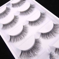 5 Pairs Natural Long Sparse Cross Lashes