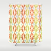 Retro Geometric Stripe with Blue Splats Shower Curtain by RunnyCustard Illustration