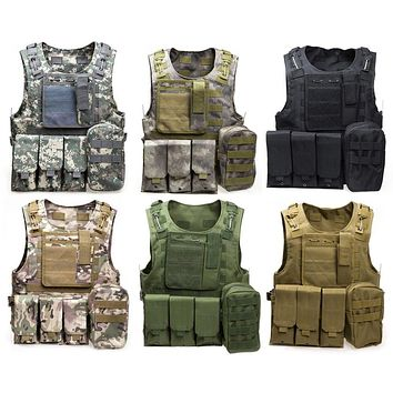 Camouflage Hunting Military Tactical Vest Wargame Body Molle Armor Hunting Vest CS Outdoor Jungle Equipment with 7 Colors
