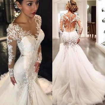 Elegant Long Sleeve Mermaid Wedding Dresses 2018 Sheer Robe De Mariee Illusion Back Custom Made Bridal Gowns Alibaba China