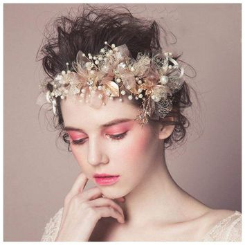 Gorgeous Pink Pearl Flower Bridal Headband Gold Beaded Leaf Crystal Tiara Wedding Accessories