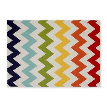 Classy rainbow chevron stripes 5'x7'Area Rug by chevroncitystripes