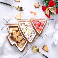 28cm full set ceramic bamboo Christmas tree tray Snack plate fruit bowl dish plate tableware breakfast tray kitchen home supply