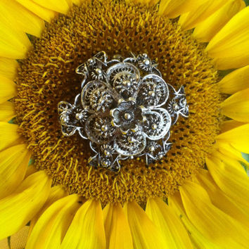 Silver Floral Filigree Brooch Antique French Cannetille Silver Lace Design Art Nouveau Deco Sunflower Pin With 3 Layers of Ornate Details