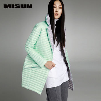 MISUN 2017 womens winter jackets asymmetric length mantle type cocoon single breasted long-sleeve light and thin duck down coat
