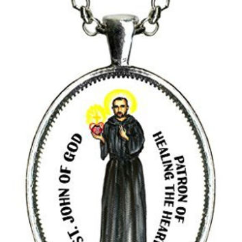 Saint John of God Patron of Healing the Heart Huge 30x40mm Handmade Silver Pendant