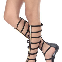 Black Faux Leather Caged Elastic Strap Gladiator Sandals