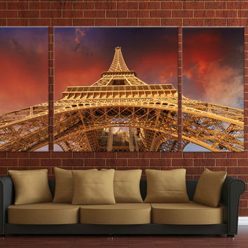 Framed 3 panels Paris Eiffel tower, Canvas wall Hanging, Ready to hang on wall, canvas digital print