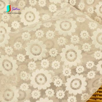High-grade White Heavy Organza Embroidered Fabric Wedding Dress Small Dress Mesh Embroidery Clothing Fabric S083M