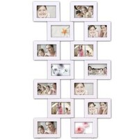 Adeco PF0200 Double 7-Opening White Wall Collage Photo Picture Frames - Holds Fourteen 4x6 Inch Photos; Home Decor Wall Art