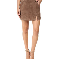 Blank NYC Camel Suede Mini Skirt in Midnight Toker