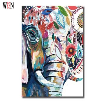 Abstract African Elephant Canvas Art Animal Painting Posterr