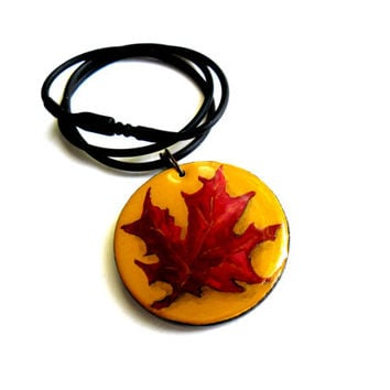 Red Maple Leaf Wooden Jewelry - Natural Maple Necklace - Hand Painted Leaf Pendant - Canadian Maple Leaf