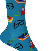 Bookworm Crew Socks in Blue Lagoon