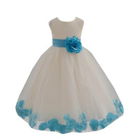 Lovely and  Cute Princess Tulle Dress Zipper Back with Big Bow Ivory Ball Gown Flower Girl Dresses 2016 Girls Pageant Dresses