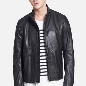 Men's Vince Lambskin Leather Moto Jacket