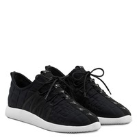 Giuseppe Zanotti Gz Ross Black 3d Fabric 'runner' Sneaker - Best Deal Online