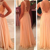 2014 Backless Peach Long Lace Prom Dress/Prom Gown/Evening Dress/Evening Gown/Custom made dress/Formal Dress/New/Graduation Dress/Fashion