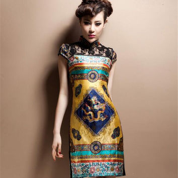 Sexy Lace Cheongsam Dresses Fashion 2017 New Chinese Style Retro Slim Summer Large Size M--4XL women dress