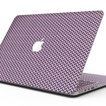 Coral and Navy Micro Woven Pattern - MacBook Pro with Retina Display Full-Coverage Skin Kit