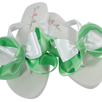 Wedding Mint & White Wedge 2 inch Bride & Bridesmaid Flip Flops