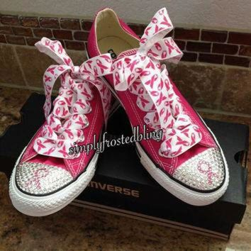 DCKL9 Breast cancer awareness bling converse