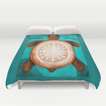 Snowflake turtle Duvet Cover by ArtLovePassion