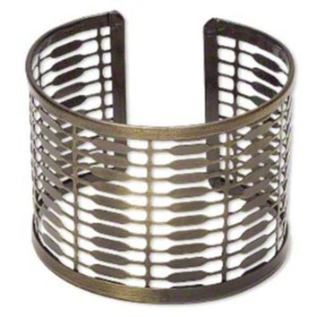 Mid Century Steampunk Style Antiqued Brass Steel Wide Customizable Cuff Bracelet