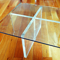 Mid Century Modern Square Lucite X Base Small End Table With Thick Glass Top
