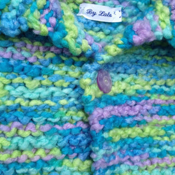 Newborn Knit Baby Sweater Soft and Plush Turquoise, Green and Lavender sweater with matching Hat Ready to ship hand knitted baby sweater