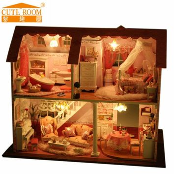 Doll house furniture miniatura diy doll houses miniature dollhouse wooden handmade toys for children birthday gift  A003