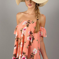 Summer Ready Off Shoulder Top - Peach Floral