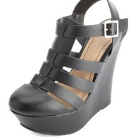 Closed Toe Strappy Platform Wedge Sandals by Charlotte Russe - Black