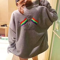 Balenciaga New fashion embroidery letter flag couple high quality long sleeve coat cardigan Gray