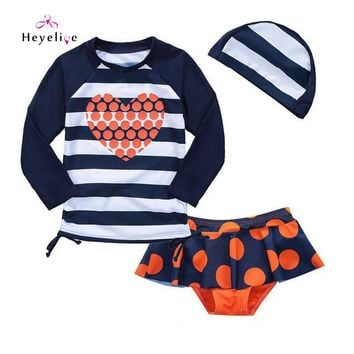 Long Sleeves Two-Piece Swimsuit for Children Vintage Bathing Suit for Pool Tankini with Cap Quick Dry Girls Sport Swimming Wear